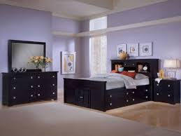Wall Mirrors For Bedroom by Purple Painted Wall Black Bed Frame Black Headboard With Drawers