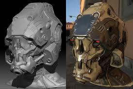 helmet design game mech helmet 100 zbrush sculpt plus game res real time renders