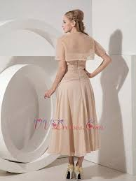 tea length champagne mother of the bride dress with jacket