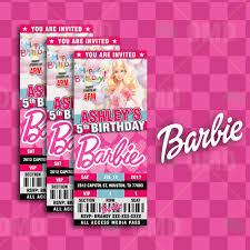 Barbie Invitation Card Barbie Ticket Style Birthday Cartoon Invites U2013 Cartoon Invites