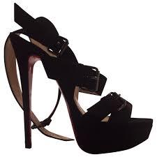 black suede christian lacroix heels vestiaire collective