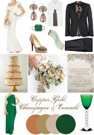 Copper Color Combinations by Gold Emerald Copper Wedding Color Palette Incredible For A Formal