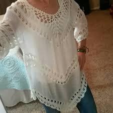 boho crochet dreamers on hold white boho crochet tunic top from s