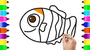 clown fish example simple drawing for children play pain coloring