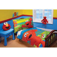 toddler bed bedding for girls sesame street abc123 4 piece toddler bedding set walmart com