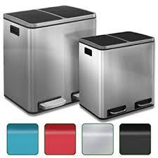poubelle cuisine 60l poubelle tri sélectif casa pura haute rectangulaire en inox à