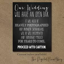 funny wedding sign drink open bar winter wedding signage