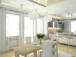 modern interior in big house design of kitchen 3d render stock