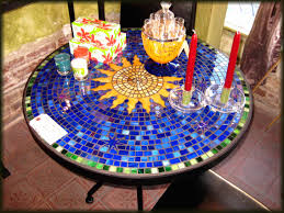 ceramic tile top patio table furniture tile top patio dining table glass mosaic teal ribbon set