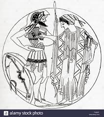 Vase Drawing Greek Woman Pouring A Libation From An Ancient Vase Drawing A