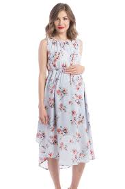 adeline grecian maternity nursing dress in sky floral print by