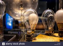 thomas edison light bulbs with hand written lab notes on display