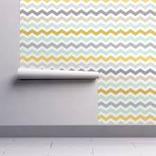 Mint Home Decor Retro Chevron Mint Grey Yellow Wallpaper By Inspirationz