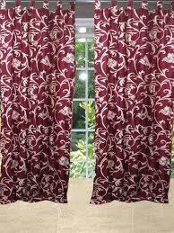 Sari Curtain Indian Red Sari Curtains Designer Printed Tab Top Window Panels