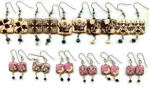 decoupage earrings trunk show decoupage polymer and bone bead inspirations