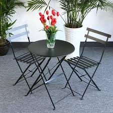 Black Metal Bistro Chairs Foldable Bistro Set Alessia Black 2 Person Steel Table Set For