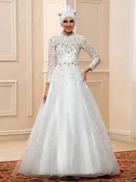 islamic wedding dresses fashionable lace beading sleeve muslim wedding dress with