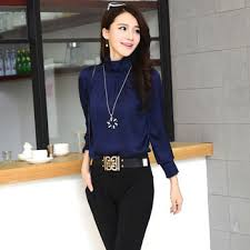 navy blue blouse w5059 five colors luxury sleeve high quality navy blue silk