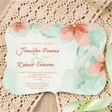 mint wedding invitations mint and watercolor flower themed bracket shaped wedding