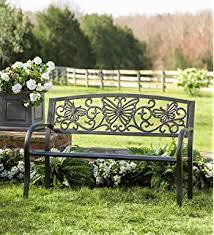 Cream Garden Bench Amazon Com Colorful Metal Butterfly Garden Bench Garden U0026 Outdoor