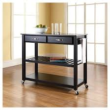 solid black granite top kitchen cart island with optional stool
