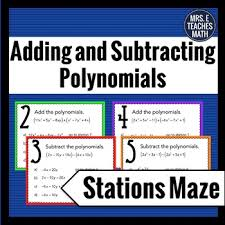 add and subtract polynomials stations maze activity by mrs e
