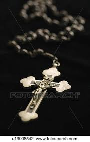 christian rosary stock photo of christian rosary with crucifix on black
