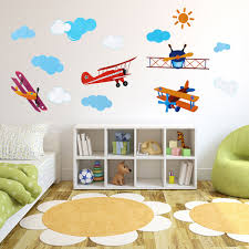 four air planes multicolor wall sticker home vinyl decal kids room image loading four air planes multicolor wall sticker home vinyl