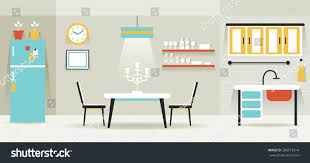 kitchen dining room furniture display panorama stock vector