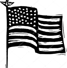 Black And White American Flag Woodcut Illustration Of American Flag Waving U2014 Stock Vector