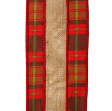 wired ribbon raz and green plaid with burlap christmas craft ribbon