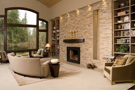 contemporary living room with stacked stone accent wall recess