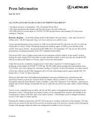 lexus rx 450h will not start euro spec lexus rx press release