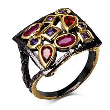 square style rings images Buy high quality big black rings for women cubic jpg