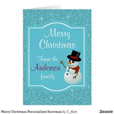 merry personalized snowman card send someone a special