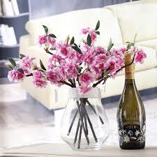artificial flower home decor purple artificial fake cherry blossom silk flower bridal hydrangea