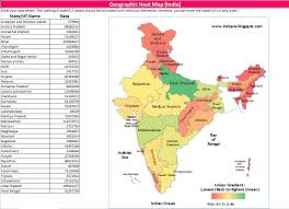 India Maps by Geographic Heat Map India Excel Template Indzara