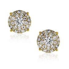 cluster stud earrings 14k yellow gold 2 75ctw diamond cluster stud earrings