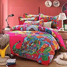 Featherbedding Amazon Com Norson Peacock Print Bedding Set Peacock Feather
