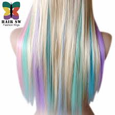 hair color pics highlights multi blonde pastel color highlights rainbow wig multi colorful wig long