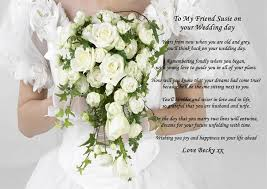 Wedding Gift For Best Friend Personalised A4 Poem To My Friend On Her Wedding Day Gift For