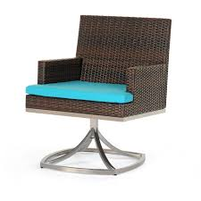 dining room brown rattan with blue cuhsion wicker dining chairs