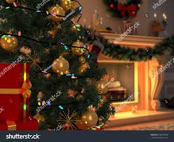 3d rendering new year interior christmas stock illustration