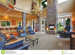 luxury house interior living room with fireplace stock photo