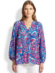 Swell Lilly Pulitzer by Lilly Pulitzer Printed Silk Elsa Top In Blue Lyst