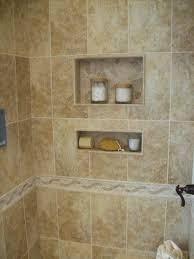 ceramic tile bathroom floating bench having black steel grab bar