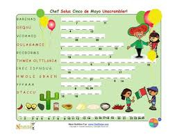 holiday 6 cinco de mayo unscramble puzzle challenge for elementary