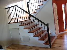 Using Laminate Flooring On Stairs Decor Wrought Iron Railing To Give Your Stairs Unique Look