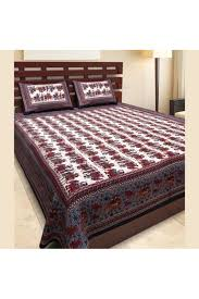 Double Bed by Double Bed Cotton Printed Bedsheet In Grey And Maroon Colour