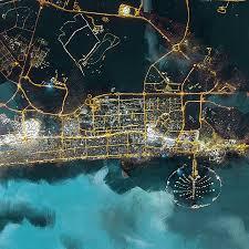 Bird View Map Bird Eye View Dubai Painting By Corporate Art Task Force